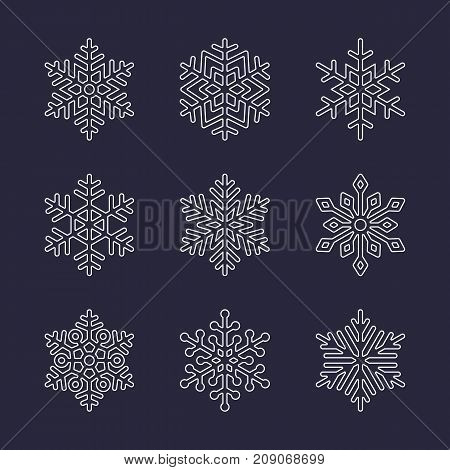 Snowflake flat icons set. Collection of cute geometric snowflakes, stylized snowfall. Design element for christmas or new year card, winter ornament. Frozen white snow flakes silhouette on dark background.
