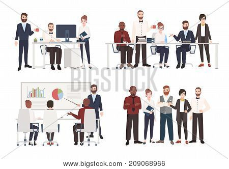 Set of office workers dressed in business clothing in different situations - working at computer, conducting negotiation, making presentation. Flat colored cartoon characters. Vector illustration