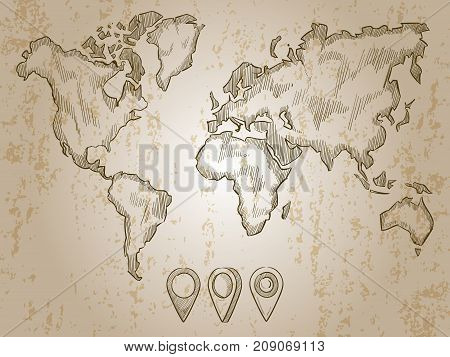 Vintage hand drawn world map and doodle pins. World map, earth travel sketch, ancient vintage cartography, vector illustration poster