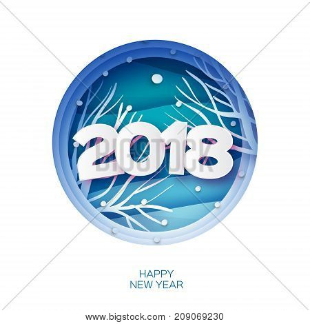 2018 Happy New Year Background. Wild nature. Greetings Card for Christmas invitations. Paper cut snow flake. Circle frame. Text. Origami Mountains. Blue. Vector illustration.