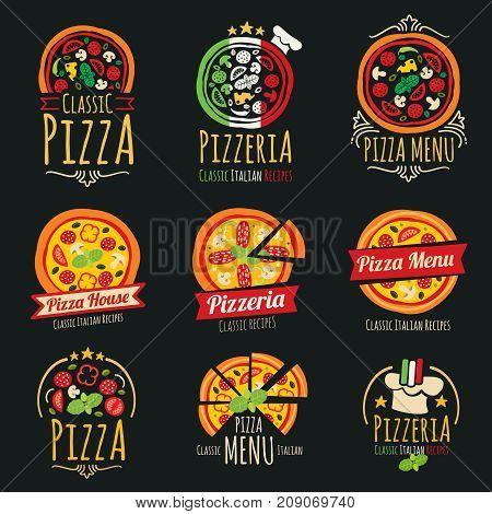 Pizza vector logos. Pizzeria italian cuisine restaurant labels and emblems. Pizza restaurant emblem, illustration of italian pizzeria