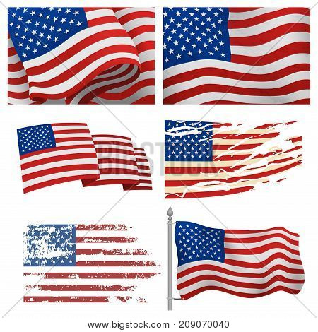 Independence day USA flags United States american symbol freedom national sign vector illustration. Wavy patriotic banner shape celebration holiday symbol.