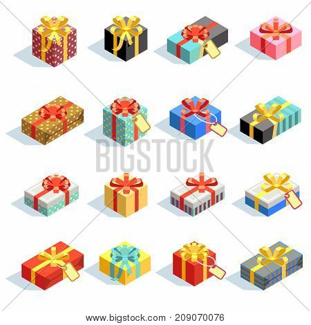 Big set of different colored 3D giftboxes with ribbons isolated. Color giftbox for birthday and christmas surprise. Vector illustration