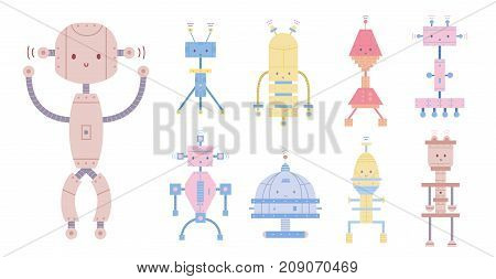 Collection of colorful cute smiling robots isolated on white background. Bundle of different toy cyborgs, funny electronic monsters or mechanical creatures. Cartoon characters. Vector illustration