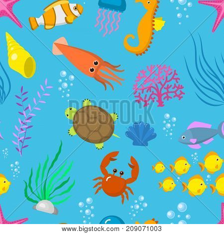 Set aquatic funny sea animals vector underwater creatures cartoon characters shell aquarium sealife seamless pattern background