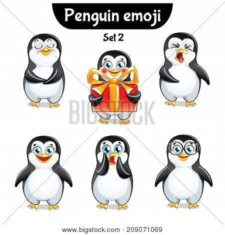 Set kit collection sticker emoji emoticon emotion vector isolated illustration happy character sweet, cute penguin