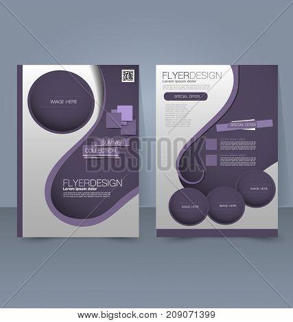 Flyer template. Business brochure. Editable A4 poster for design education, presentation, website, magazine cover. Purple color.