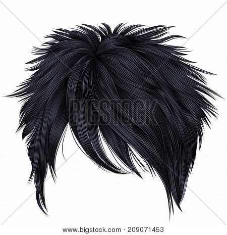 trendy woman short hairs brunette black colors . fashion beauty style . realistic 3d .
