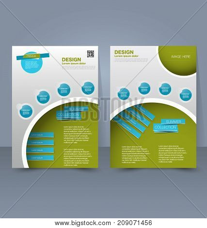 Flyer template. Business brochure. Editable A4 poster for design education, presentation, website, magazine cover. Blue and green color.