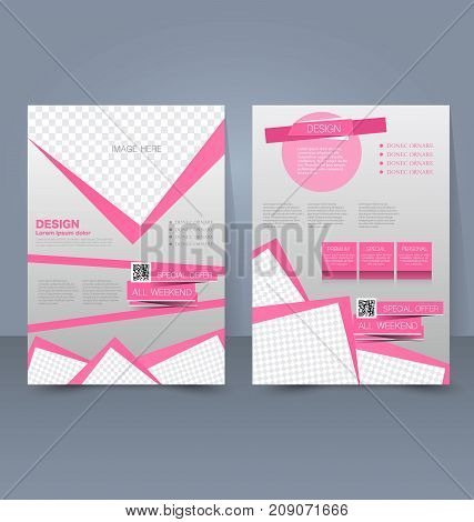 Flyer template. Business brochure. Editable A4 poster for design education, presentation, website, magazine cover. Pink color.