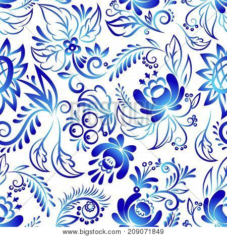 Russian ornaments art style gzhel blue flower traditional folk bloom branch seamless pattern background vector illustration