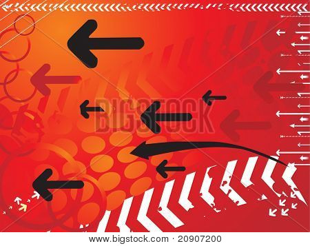 technology background in red, vector illustration
