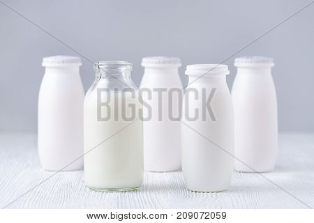 bottles of drink yogurt, traditional and homemade