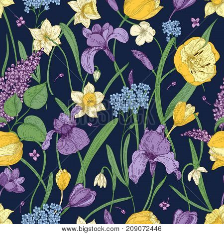 Elegant floral seamless pattern with beautiful spring flowers on dark background.