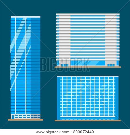 Skyscrapers buildings isolated tower office city architecture house business apartment vector illustration. Modern cityscape construction exterior urban downtown design.