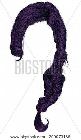 trendy women hairs purple . plait . fashion beauty style .