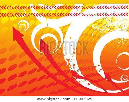 arrows on orange halftone background, texture