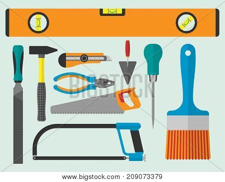 Vector various color flat design house repair instruments equipment icons construction house tools. Building renovation toolbox housework equipment illustration