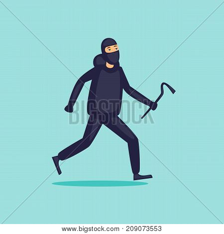 Thief runs. Character. Flat design vector illustration.