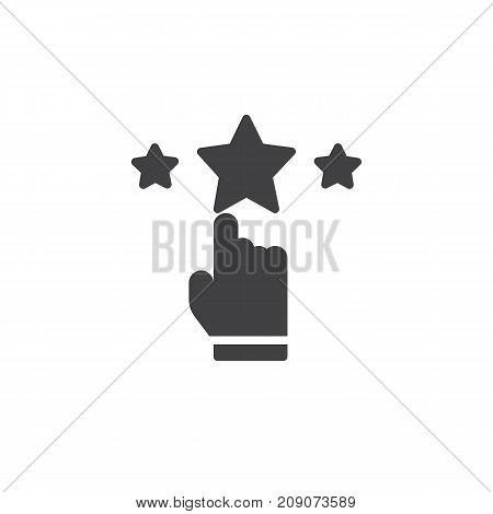 Rate with hand and stars icon vector, filled flat sign, solid pictogram isolated on white. Achievement symbol, logo illustration.