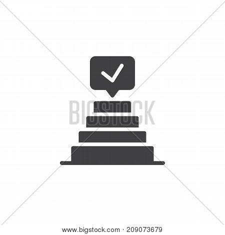 Success pyramid  check mark icon vector, filled flat sign, solid pictogram isolated on white. Achievement symbol, logo illustration.