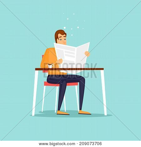 Guy sitting reading a newspaper cafe. Flat design vector illustration.