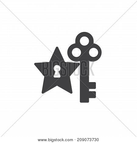 Star and key icon vector, filled flat sign, solid pictogram isolated on white. Success symbol, logo illustration.