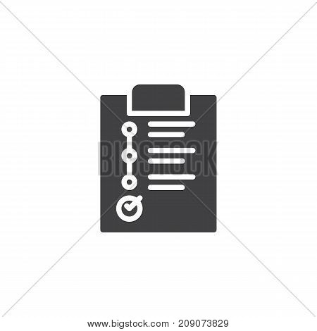Business planning on paper clipboard icon vector, filled flat sign, solid pictogram isolated on white. Success symbol, logo illustration.