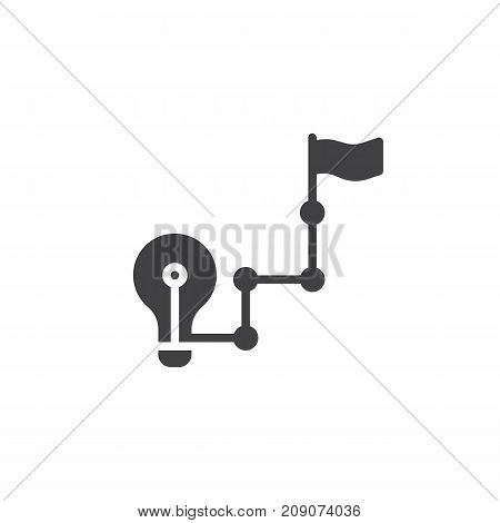 Goal with light bulb and flag icon vector, filled flat sign, solid pictogram isolated on white. Success symbol, logo illustration.