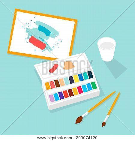 Watercolor paint, brush, palette, art, draw. Flat design vector illustration.