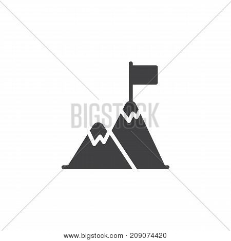 Flag on mountain top icon vector, filled flat sign, solid pictogram isolated on white. Achievement symbol, logo illustration.