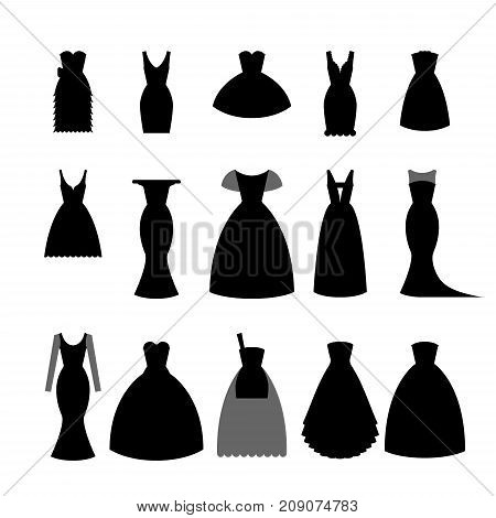 Collection silhouettes of black dresses on white background- stock vector illustration. Elegant short and long dress for woman, fashion lady design.