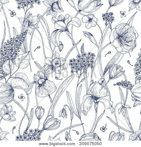 Beautiful natural seamless pattern with spring flowers hand drawn with contour lines on white background