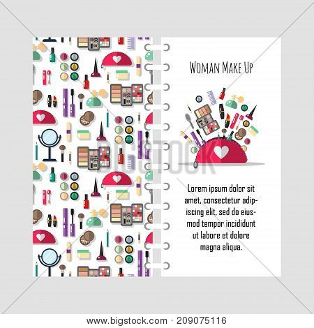 Vector template beauty store with cosmetic objects - mascara, gloss, eyeshadow, lipstick, cream, blush, perfume. Make-up, vector flat illustration. Cover design for print.