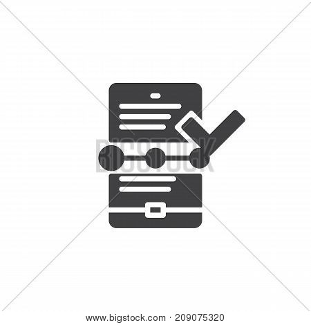 Tablet with check mark icon vector, filled flat sign, solid pictogram isolated on white. Symbol, logo illustration.