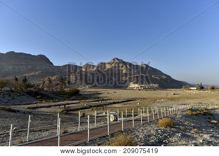 Abandoned site in Ein Gedi national park after Dead Sea catastrophic drying Israel