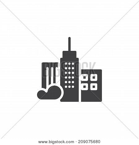 Skyscraper icon vector, filled flat sign, solid pictogram isolated on white. City buildings symbol, logo illustration.