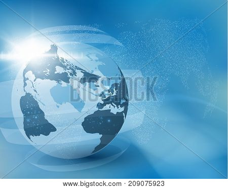 Earth globe business background with rising sun burst and transparent rectangles encircling world map can be used for finance presentations, news backdrop, or corporate annual report. EPS10.