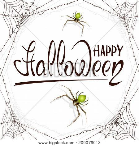 Abstract Halloween background with green spiders and black cobwebs. Lettering Happy Halloween on white background, illustration.