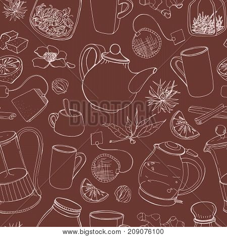 Contour seamless pattern with hand drawn tools for preparing and drinking tea - electric kettle, french press, teapot, cup, mug, sugar, lemon, herbs and spices. Vector illustration for fabric print