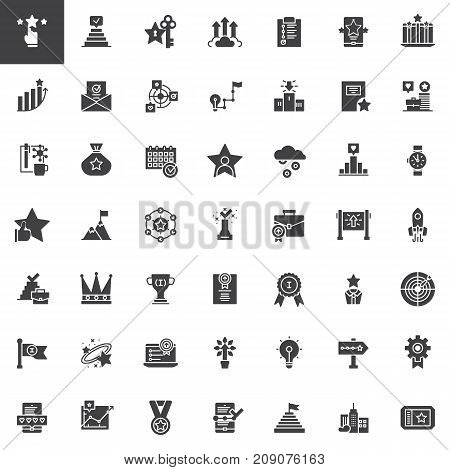 Business marketing vector icons set, modern solid symbol collection, filled pictogram pack. Signs, logo illustration. Set includes icons as profits, rating, success, promotion, startup, work