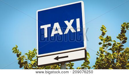 Blue Square Sign Indicating A Taxi Wire