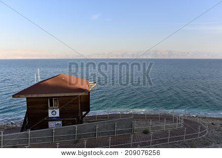 Abandoned lifeguard hut at Dead Sea coast in Israel.