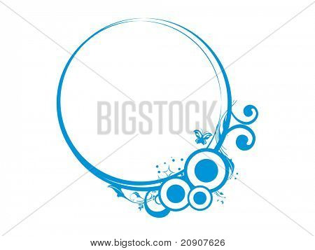 vector illustration of floral in circle frame theme