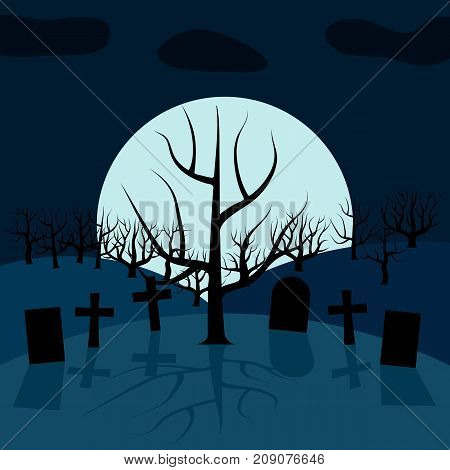 A lonely tree in the cemetery at night in front of the Moon. Vector background for Halloween