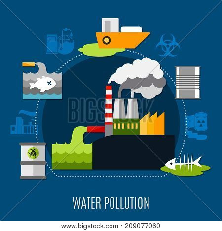 Water pollution concept with factory and waste symbols flat vector illustration