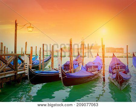 Gondolas on Canal Grande with San Giorgio Maggiore church in the background, Venice