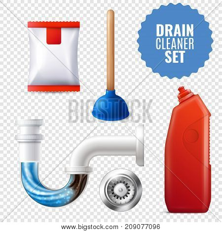 3D style drain cleaner transparent icon set with equipment and attributes for clean pipes vector illustration