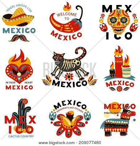 Day of dead mexican national holiday symbols emblems colorful icons set with skull chili cactus isolated vector illustration