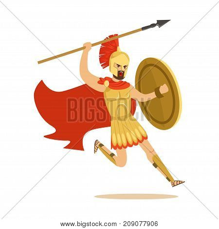 Spartan warrior character in armor and red cape fighting with spear, Greek soldier vector Illustration isolated on a white background